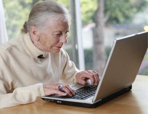 Older woman laptop