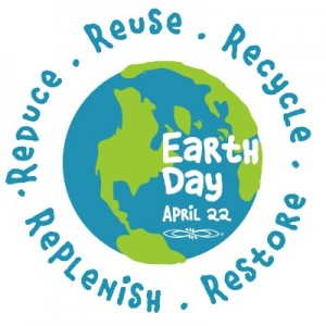 Earth Day reminder for April 22 to Reuse, Recycle, Reduce, Replenish, and Restore